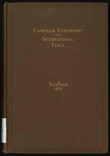 Carnegie Endowment for International Peace: Yearbook, 1931