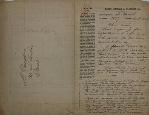 Manuscript Letter of Louise Michel to Ernest Vaughan from prison